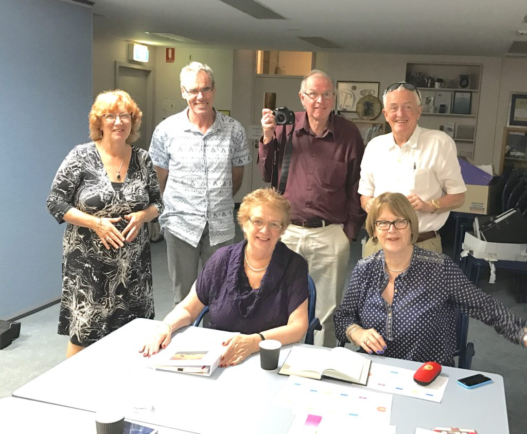 Planning meeting at MND Gladesville left-right: Pauline Keyvar HD, Graham Opie MND, Robyn Kapp HD, Michael Small Rotary, Jenny and Bob Montgomery. Bill Pixton is taking the photo.