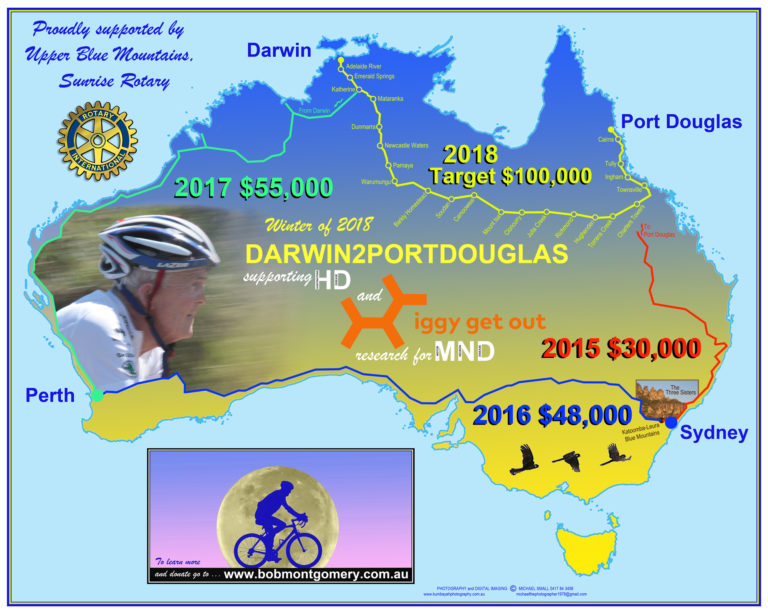 Bob Montgomery map of his ride from Darwin2PortDouglas